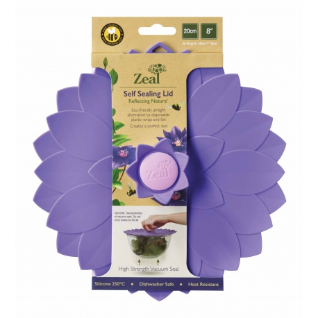 Zeal Reflecting Nature - Violet Flower Silicone Bowl & Pan Self Sealing Lid