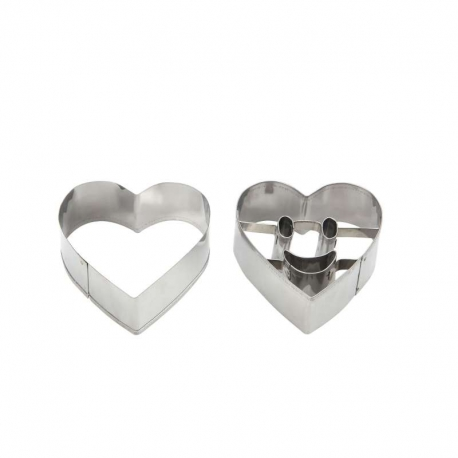 Heart Smiley Face Cookie Cutter Set - 2pc